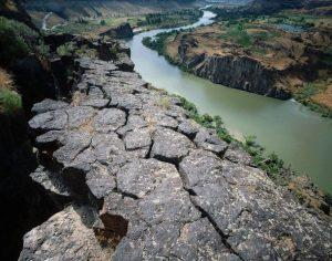 Basalt columns along the Snake River Gorge, Twin Falls, Idaho, USA